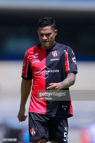 Anderson Santamaria of Atlas reacts during the 1st round match between Pumas UNAM and Atlas as part of the Torneo Grita Mexico A21 Liga MX at...