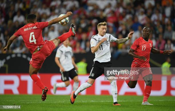 Anderson Santamaria of Peru blocks the ball against Marco Reus of Germany during the International Friendly match between Germany and Peru on...