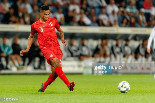 Anderson Santamaria of Peru controls the ball during the International Friendly match between Germany and Peru on September 9 2018 in Sinsheim Germany