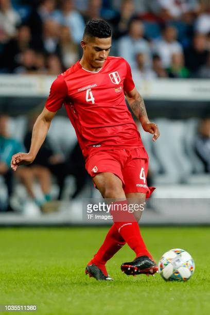 Anderson Santamaria of Peru controls the ball during the International Friendly match between Germany and Peru on September 9, 2018 in Sinsheim,...