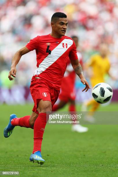 Anderson Santamaria of Peru in action during the 2018 FIFA World Cup Russia group C match between Australia and Peru at Fisht Stadium on June 26,...