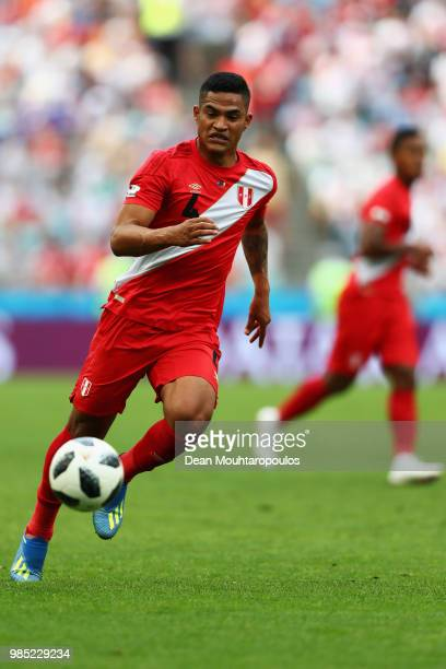 Anderson Santamaria of Peru in action during the 2018 FIFA World Cup Russia group C match between Australia and Peru at Fisht Stadium on June 26 2018...