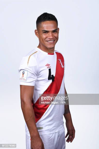 Anderson Santamaria of Peru poses for a portrait during the official FIFA World Cup 2018 portrait session at the Team Hotel on June 11 2018 in Moscow...
