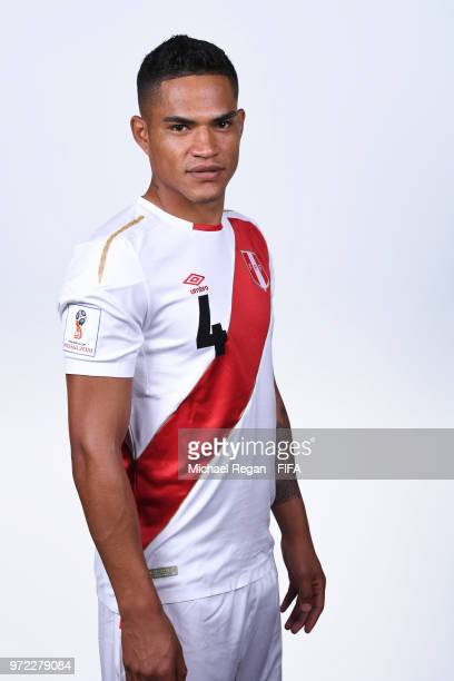 Anderson Santamaria of Peru poses for a portrait during the official FIFA World Cup 2018 portrait session at the Team Hotel on June 11, 2018 in...