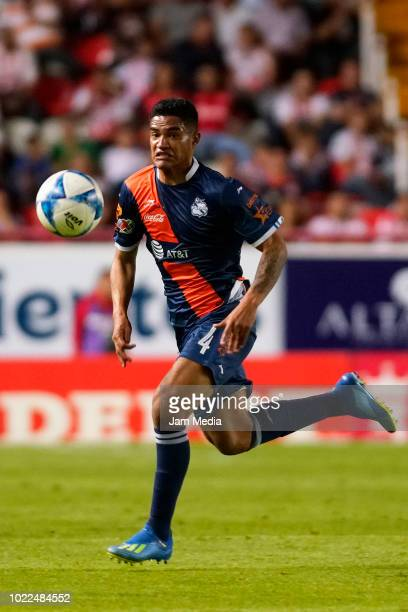 Anderson Santamaria of Puebla controls the ball during the fifth round match between Necaxa and Puebla as part of the Torneo Apertura 2018 Liga MX at...