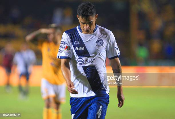 Anderson Santamaria of Puebla reacts during a match between Tigres UANL and Puebla as part of Round of Sixteen of Copa MX Apertura 2018 at...