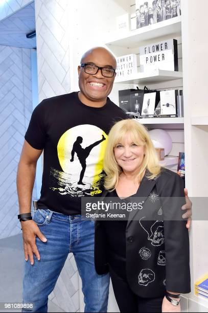 Anderson Silva and Karen Harvey attend Karen Harvey celebrates the launch of INDX at Fred Segal at Fred Segal on June 21 2018 in Los Angeles...