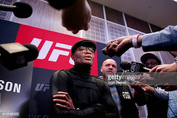 Anderson Silva answers questions during the UFC Fight Night Ultimate Media Day at The Grange Hotel on February 25 2016 in London England