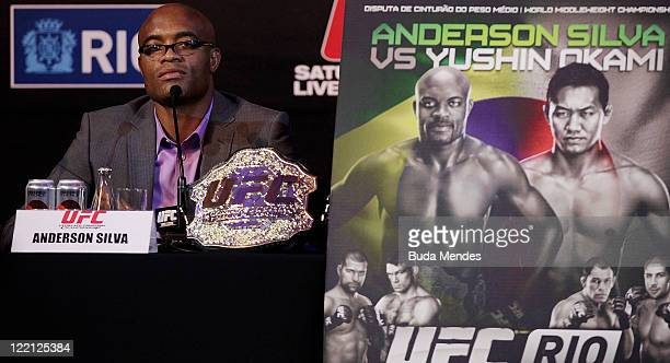 Anderson Silva at the UFC Rio PreFight Press Conference at Copacabana Palace on August 25 2011 in Rio de Janeiro Brazil