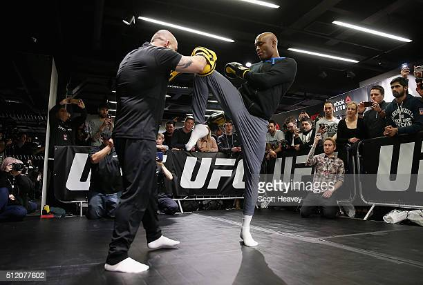 Anderson Silva during the UFC Fight Night Open Workouts at JD Sports on February 24 2016 in London England