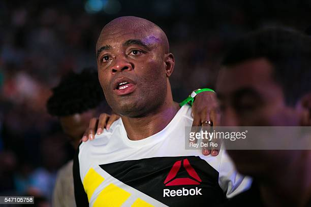 Anderson Silva exit the Octagon after his fight against Daniel Cornier during the UFC 200 event at TMobile Arena on July 9 2016 in Las Vegas Nevada
