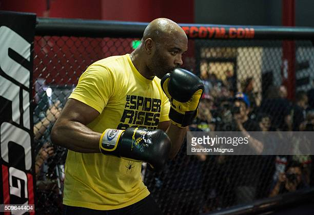 Anderson Silva holds an open training session for fans and media at the UFC Gym on February 11 2016 in Torrance California