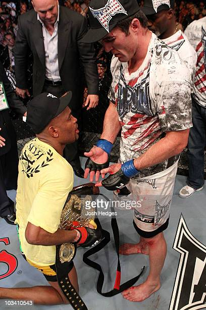 Anderson Silva is congratulated by Chael Sonnen following the UFC Middleweight Championship bout at Oracle Arena on August 7 2010 in Oakland...