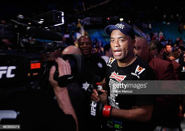 Anderson Silva leaves the arena after beating Nick Diaz in a middleweight bout during UFC 183 at the MGM Grand Garden Arena on January 31 2015 in Las...