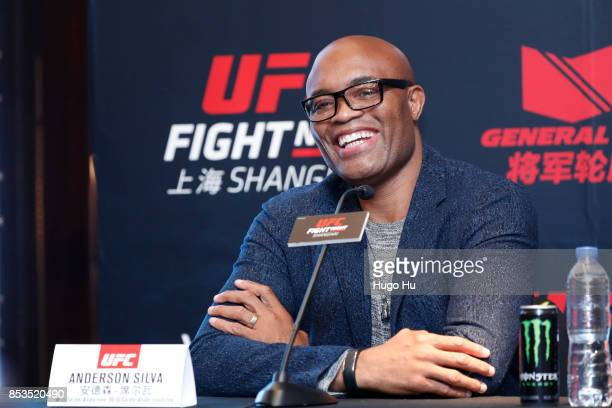 Anderson Silva legendary Brazilian mixed martial artist at the UFC press conference on September 25 2017 in Shanghai China