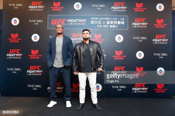 Anderson Silva legendary Brazilian mixed martial artist Kelvin Gastelum UFC middleweight contender at the UFC press conference on September 25 2017...