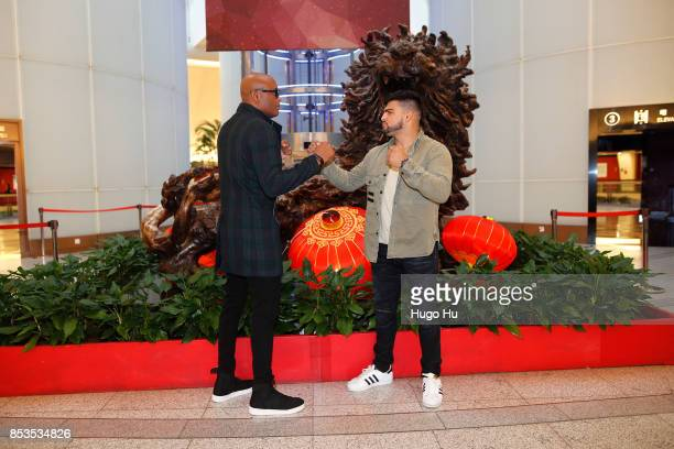 Anderson Silva legendary Brazilian mixed martial artist Kelvin Gastelum UFC middleweight contender pose for photo in the Oriental Pearl tower on...