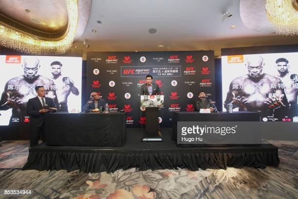 Anderson Silva legendary Brazilian mixed martial artist Kevin Chang UFC vice president for Asia Pacific Kelvin Gastelum UFC middleweight contender at...
