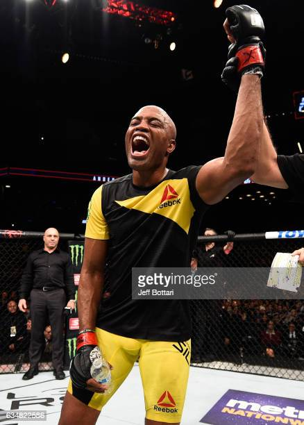 Anderson Silva of Brazil celebrates his victory over Derek Brunson in their middleweight bout during the UFC 208 event inside Barclays Center on...