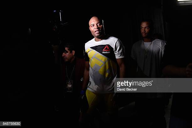 Anderson Silva of Brazil exits the Octagon after his loss to Daniel Cormier during the UFC 200 event on July 9 2016 at TMobile Arena in Las Vegas...