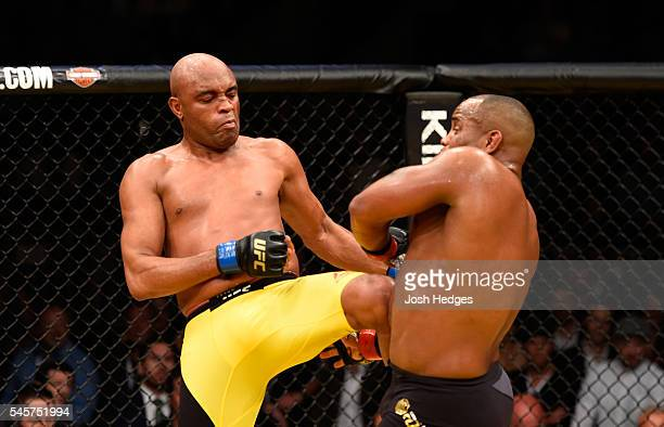Anderson Silva of Brazil kicks Daniel Cormier in their light heavyweight bout during the UFC 200 event on July 9 2016 at TMobile Arena in Las Vegas...