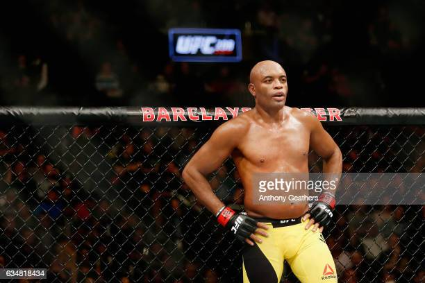 Anderson Silva of Brazil looks on before fighting against Derek Brunson of United States in their middleweight bout during UFC 208 at the Barclays...