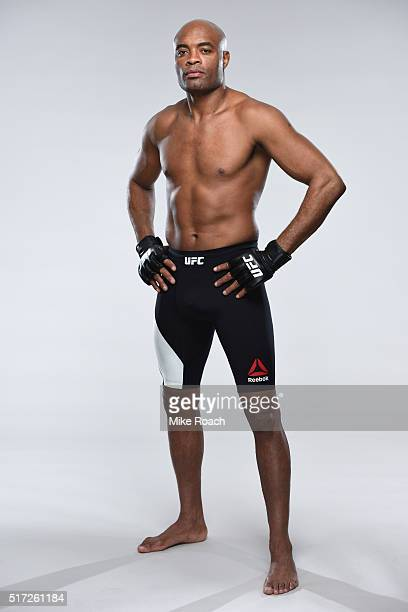 Anderson Silva of Brazil poses for a portrait during a UFC photo session on February 24 2016 in London United Kingdom