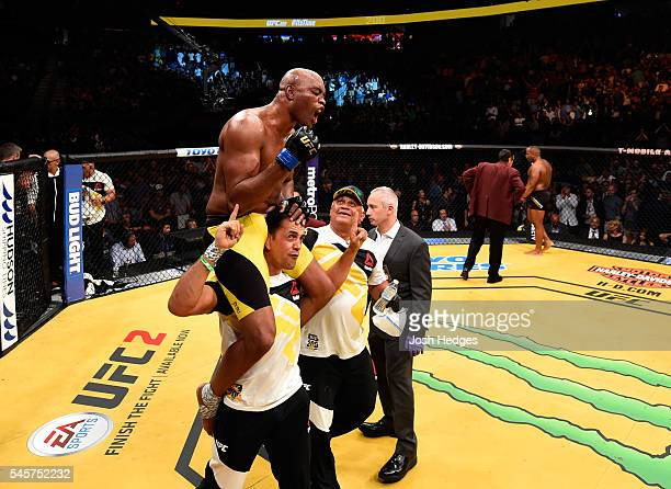 Anderson Silva of Brazil reacts after his fight with Daniel Cormier during the UFC 200 event on July 9 2016 at TMobile Arena in Las Vegas Nevada