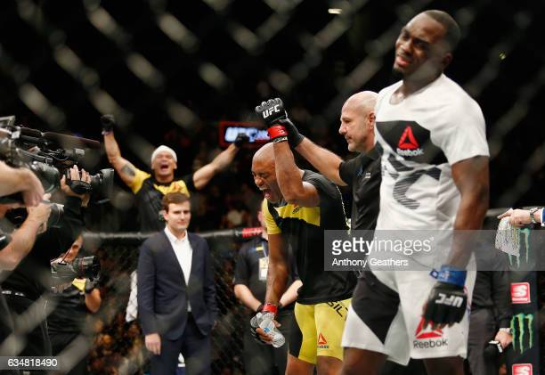 Anderson Silva of Brazil reacts after his win by unanimous decision against Derek Brunson of United States in their middleweight bout during UFC 208...