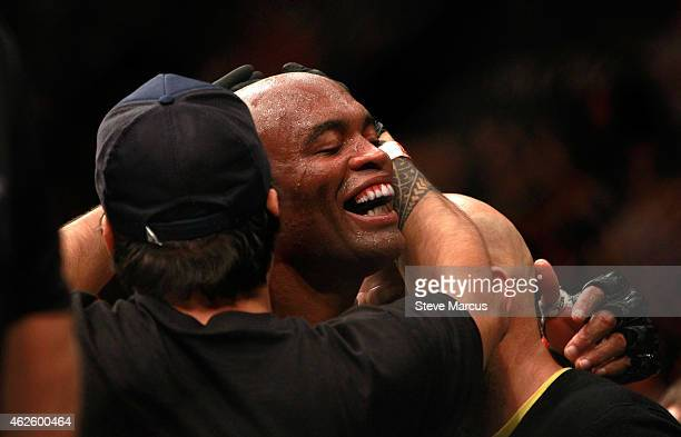 Anderson Silva reacts after finishing five rounds against Nick Diaz in a middleweight bout during UFC 183 at the MGM Grand Garden Arena on January 31...