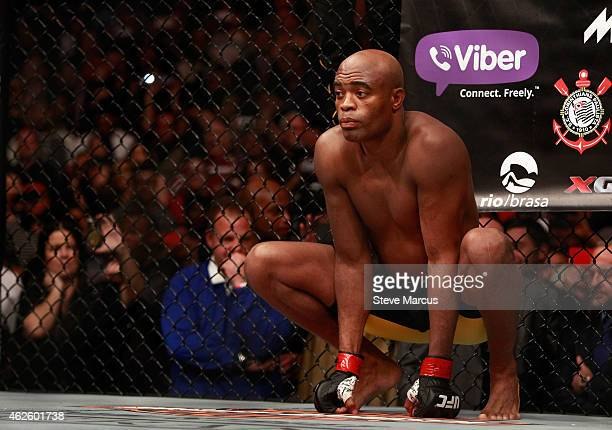 Anderson Silva waits for the start of a middleweight fight against Nick Diaz during UFC 183 at the MGM Grand Garden Arena on January 31 2015 in Las...