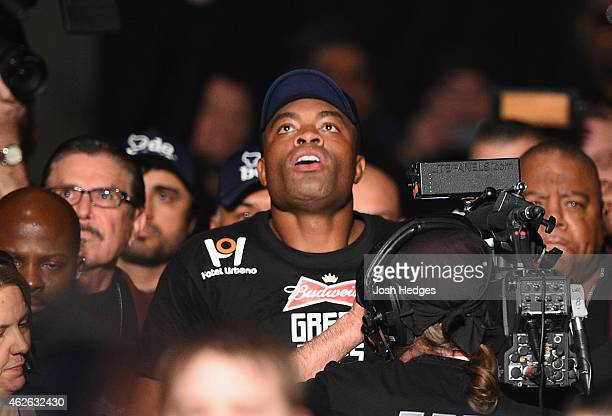 Anderson Silva walks to the Octagon to face Nick Diaz in their middleweight bout during the UFC 183 event at the MGM Grand Garden Arena on January 31...