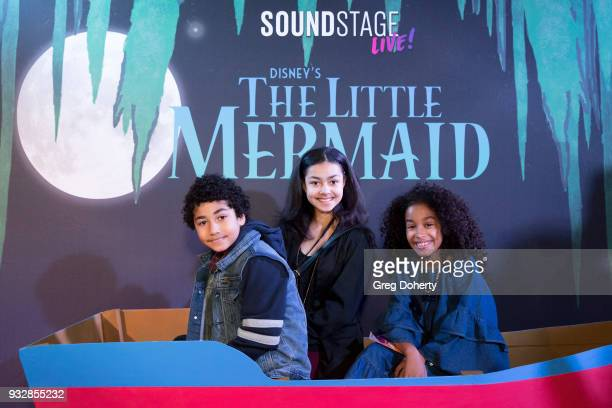 Anderson Slayton Journey Slayton and Jordyn Curet attend the New Interactive Live Stage Show Of Disney's The Little Mermaid at the El Segundo...