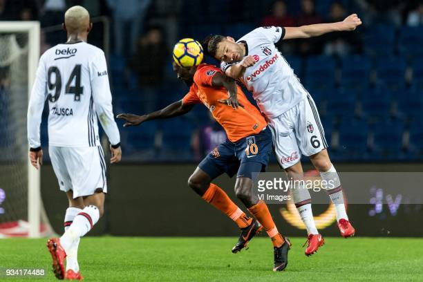 Anderson Souza Conceicao of Besiktas JK Sheyi Emmanuel Adebayor of Istanbul Medipol Basaksehir FK Dusko Tosic of Besiktas JK during the Turkish Spor...