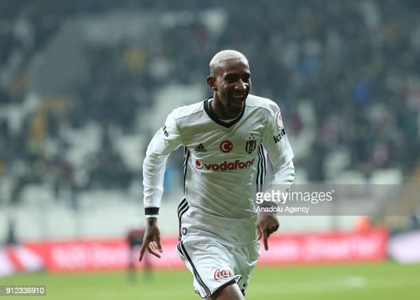 Anderson Talisca of Besiktas celebrates after scoring during the Turkish Ziraat Cup quarter final soccer match between Besiktas and Genclerbirligi at...