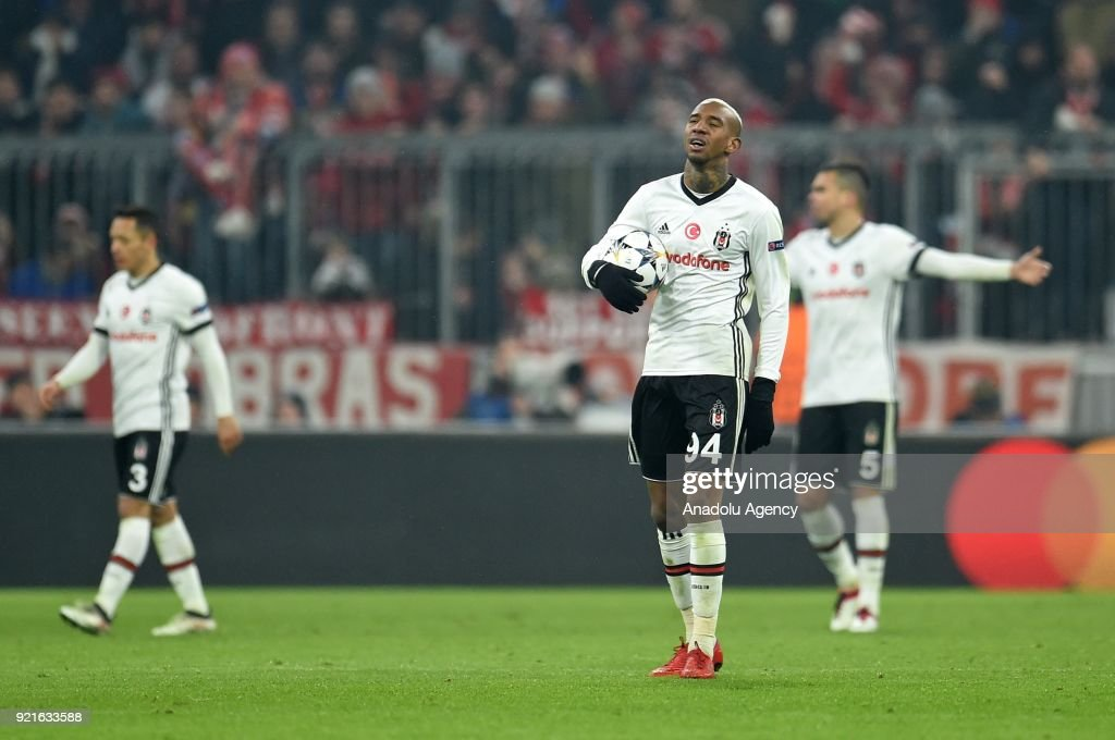 Anderson Talisca (R) of Besiktas is disappointed after the 0:3 during the UEFA Champions League Round of 16 soccer match between FC Bayern Munich and Besiktas at the Allianz Arena in Munich, Germany, on February 20, 2018.