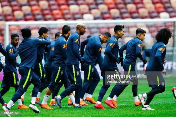 Anderson Talisca of Brazil attends a training session ahead of a friendly match between Russia and Brazil within the 2018 FIFA World Cup preparations...
