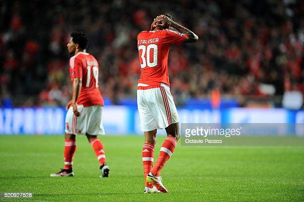 Anderson Talisca of SL Benfica reacts during the UEFA Champions league Quarter Final Second Leg match between SL Benfica and FC Bayern Muenchen at...