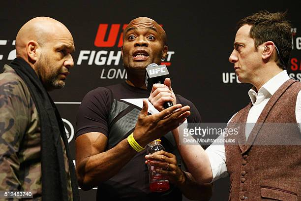 Anderson 'The Spider' Silva of Brazil speaks to the fans on stage during the UFC Fight Night Weighin held at at Indigo at The O2 Arena on February 26...