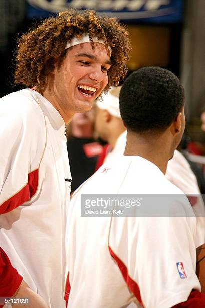 Anderson Varejao and Damon Jones of the Cleveland Cavaliers joke around before the game against the Portland Trail Blazers March 17 2006 at The...