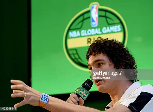 Anderson Varejao attends a press conference to announce the NBA Global Games Rio 2014 Miami Heat v Cleveland Cavaliers on August 6 2014 in Rio de...