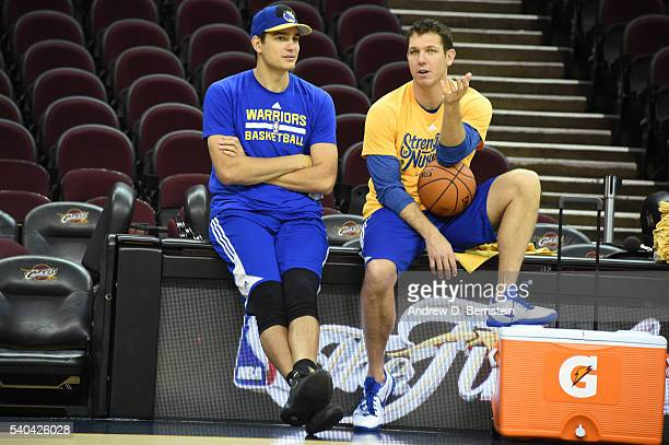 Anderson Varejao chats with Assistant Coach Luke Walton of the Golden State Warriors during practice and media availability as part of the 2016 NBA...