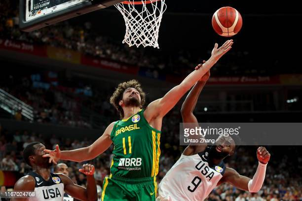 Anderson Varejao of Brazil drives against Jaylen Brown of USA during FIBA World Cup 2019 Group K match between USA and Brazil at Shenzhen Bay Sports...