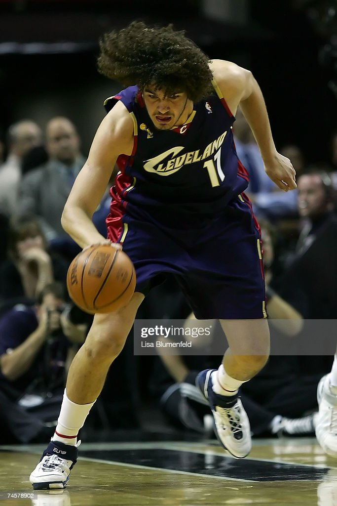 Anderson Varejao #17 of the Cleveland Cavaliers dribbles the ball in Game Two of the 2007 NBA Finals against the San Antonio Spurs on June 10, 2007 at the AT&T Center in San Antonio, Texas.