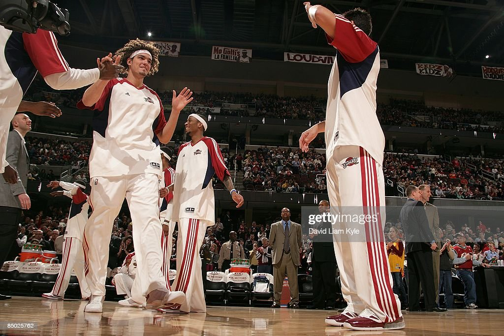 Anderson Varejao #17 of the Cleveland Cavaliers greets teammates before the game against the Sacramento Kings on January 27, 2009 at Quicken Loans Arena in Cleveland, Ohio. The Cavaliers won 117-110.
