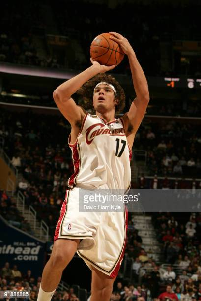 Anderson Varejao of the Cleveland Cavaliers shoots shoots the jumper against the Washington Wizards at The Quicken Loans Arena on October 14 2009 in...