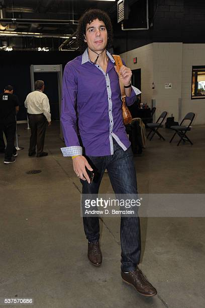 Anderson Varejao of the Golden State Warriors arrives before Game Four of the Western Conference Finals against the Oklahoma City Thunder during the...