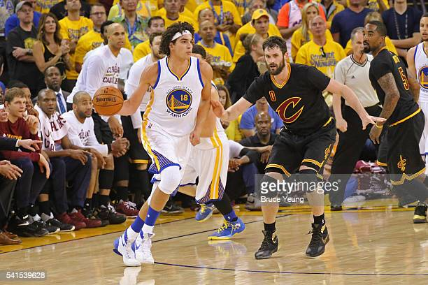 Anderson Varejao of the Golden State Warriors dribbles the ball against the Cleveland Cavaliers during the 2016 NBA Finals Game Seven on June 19 2016...