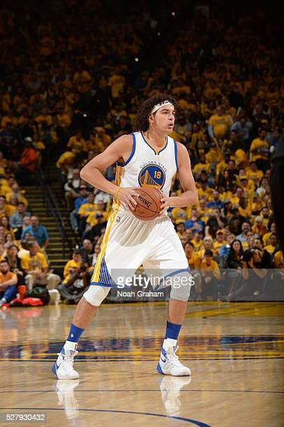 Anderson Varejao of the Golden State Warriors handles the ball against the Portland Trail Blazers in Game Two of the Western Conference Semifinals...