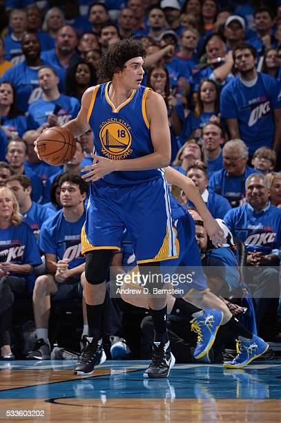 Anderson Varejao of the Golden State Warriors handles the ball against the Oklahoma City Thunder in Game Three of the Western Conference Finals...